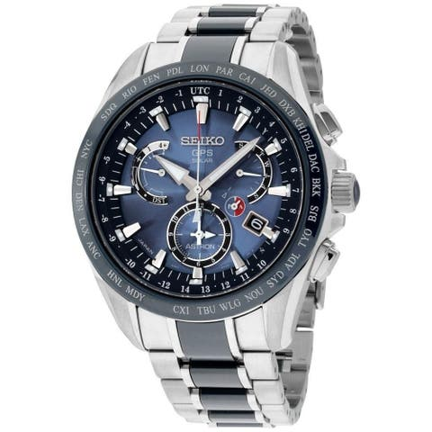 Seiko Men's SSE043 'Astron GPS Solar' Chronograph Two-Tone Titanium and Ceramic Watch
