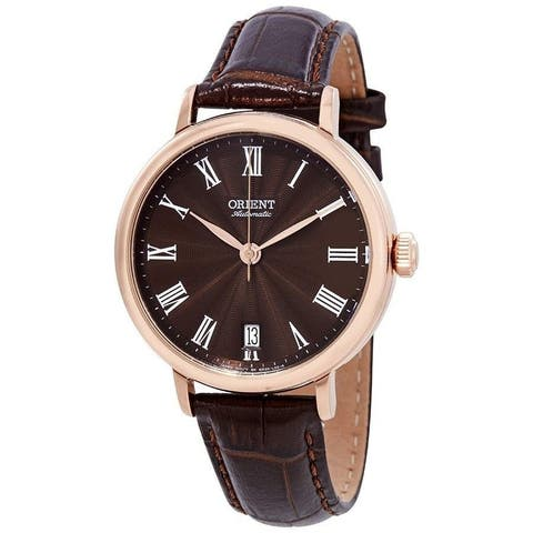 Orient Unisex 'Soma' Automatic Brown Leather Watch