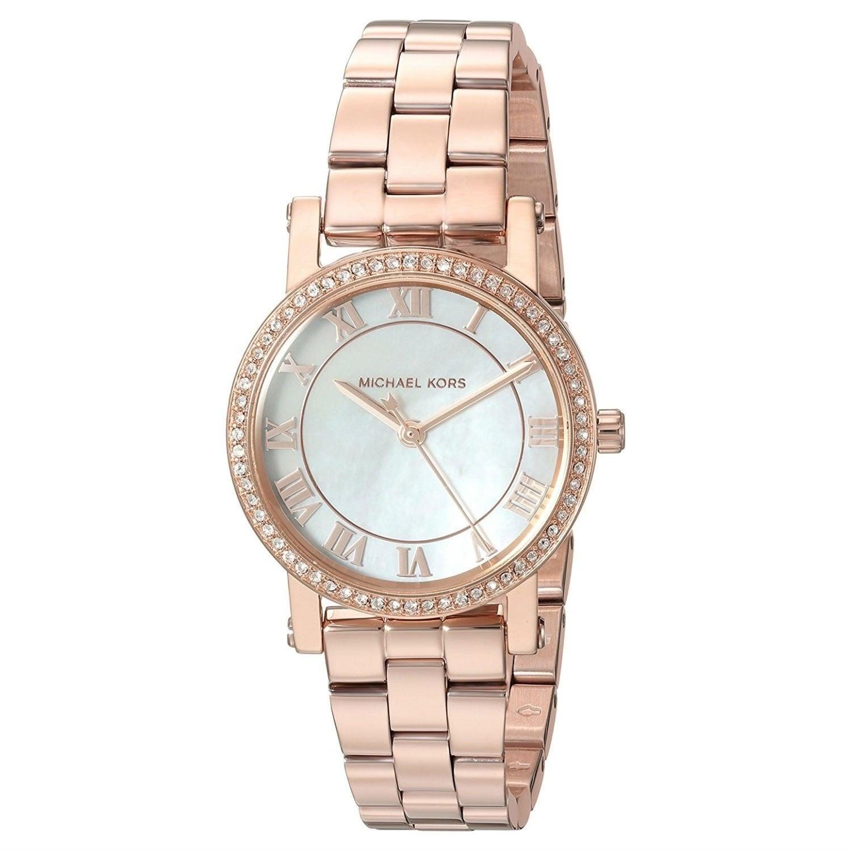 Michael Kors Womens  Petite Norie Crystal Rose-Tone Stainless Steel Watch