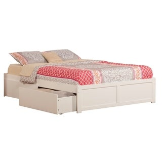 Concord King Platform Bed with Flat Panel Foot Board and 2 Urban Bed Drawers in White