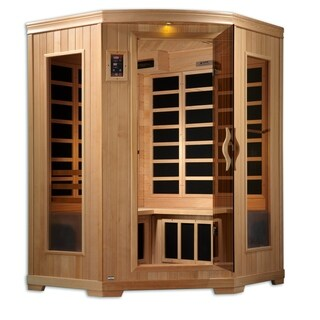 3 Person Low EMF Far Infrared Corner Sauna with 10 Carbon Tech Heaters, Chomo-therapy and FM Stereo with 2 Speakers