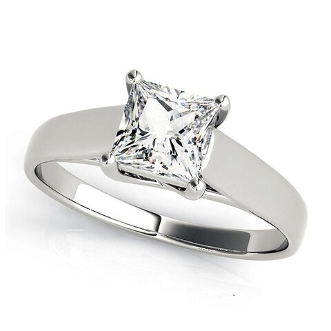 Charles and Colvard 5.5 MM Princess Cut Forever One Moisssanite Solitaire Ring 14KT