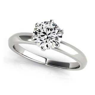 Charles and Colvard 6.5 MM Round Cut Forever One Moisssanite 6 prong Solitaire Ring 14KT