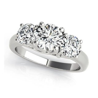 Charles & Colvard 6.5MM Round Forever One Moisssanite 3 stone Ring with Round Cut diamonds 14KT
