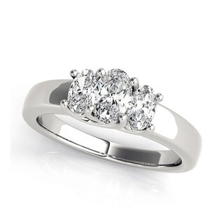Charles & Colvard 6 x 4 MM Oval Forever One Moisssanite 3 stone Ring with Oval Cut diamonds 14KT