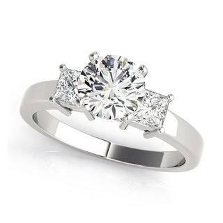 Charles and Colvard 6.5 MM Round Forever One Moisssanite 3 stone Ring with Princess cut diamonds 14KT