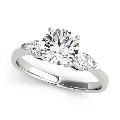Charles & Colvard 6.5MM Round Forever One Moisssanite 3 stone Ring with Pear shape diamonds 14KT