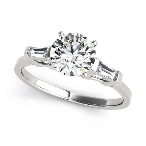 f3db986f22b211 Charles and Colvard 6.5 MM Round Cut Forever One Moisssanite 3 stone Ring  with Baguette diamonds