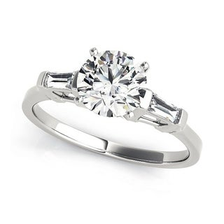 Charles and Colvard 6.5 MM Round Cut Forever One Moisssanite 3 stone Ring with Baguette diamonds 14KT