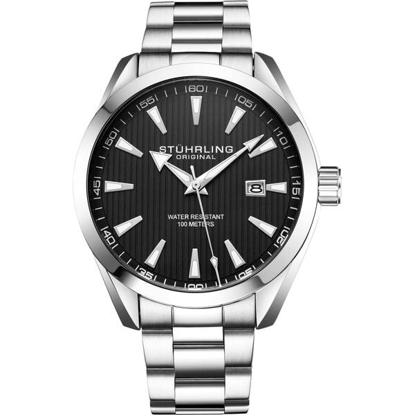 Stuhrling Original Men's Quartz Stainless Steel Bracelet Watch. Opens flyout.