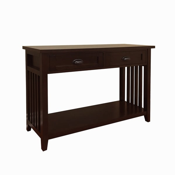 Brookdale Dark Walnut 2-Drawer Console Table