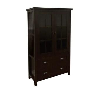 Brookdale Dark Walnut 2-Drawer Glass Door Accent Cabinet