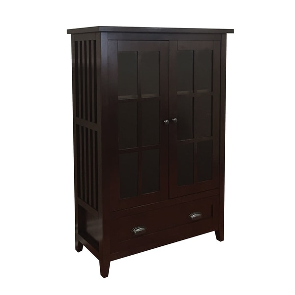Dark Walnut Kitchen Cabinets: Shop Brookdale Dark Walnut 1-Drawer Glass Door Accent
