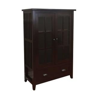 Brookdale Dark Walnut 1-Drawer Glass Door Accent Cabinet