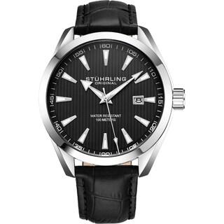 Stührling Original Men's Quartz Leather Strap Watch