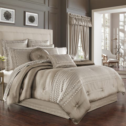 Five Queens Court Beaumont Champagne Jacquard 4 Piece Luxury Comforter Set