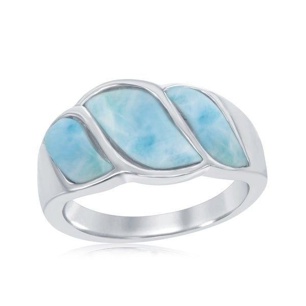 La Preciosa Sterling Silver Natural Larimar Wave Design Ring. Opens flyout.