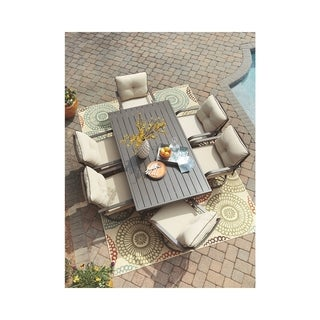 Signature Design by Ashley Predmore Brown Outdoor Dining Table with Umbrella Hole