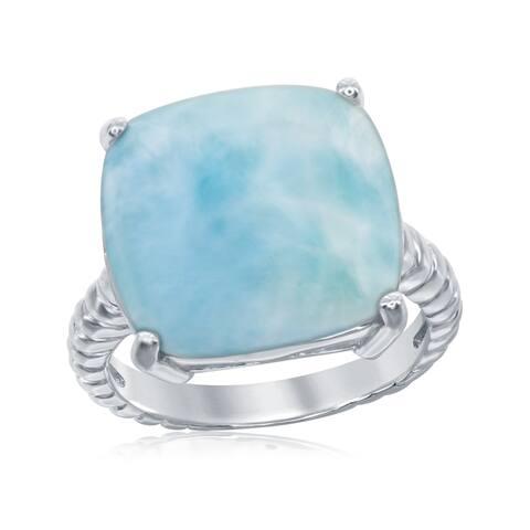 La Preciosa Sterling Silver Natural Larimar Wave Design Ring