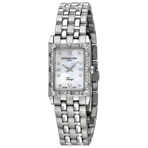 Raymond Weil Women's 5971-STS-00995 'Tango Square' Mother of Pearl Diamond Dial Stainless Steel Quartz Watch