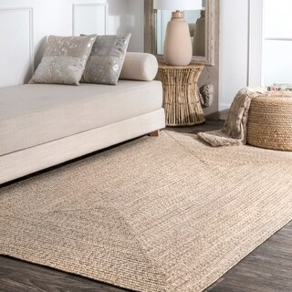 "nuLOOM Tan Handmade Casual Solid Braided Indoor/Outdoor Area Rug - 8' 6"" x 11' 6"""