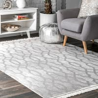 "nuLOOM Gray Contemporary Transitional Tribal Trellis Faded Tassel Area Rug - 7' 6"" x 9' 6"""