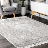 nuLOOM Silver Vintage Transitional Tribal Ornamental Chic Ombre Tassel Area Rug - 4' x 6'