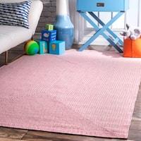 "nuLOOM Pink Handmade Casual Solid Braided Indoor/Outdoor Area Rug - 7'6"" x 9'6"""
