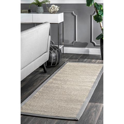 nuLOOM Casual Natural Fiber Sisal Solid Checker Framing Border Area Rug
