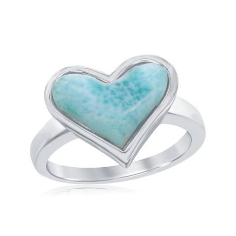 La Preciosa Sterling Silver Natural Larimar Heart-Shaped Ring