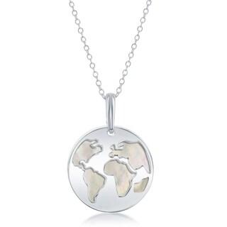 La Preciosa Sterling Silver Globe Cut-Out W/Mother of Pearl Disc 16+2'' Necklace - 16mm