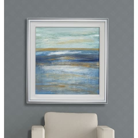 Tuscan Shore I -Custom Framed Print - blue, white, grey, yellow, green, silver, gold