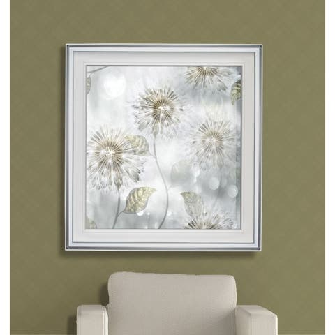 Blowing Wishes I -Custom Framed Print - blue, white, grey, yellow, green, silver, gold