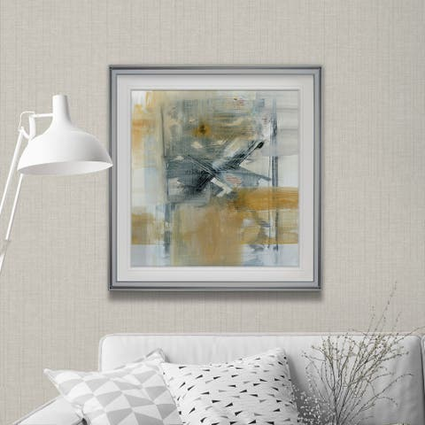 Reflections I -Custom Framed Print - blue, white, grey, yellow, green, silver, gold
