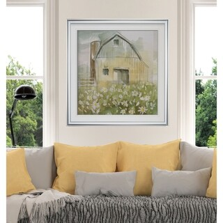Daisy Barn -Custom Framed Print - blue, white, grey, yellow, green, silver, gold