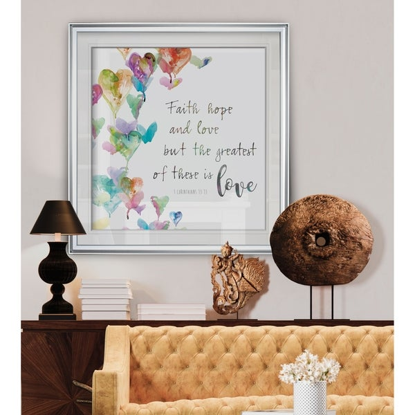 Faith, Hope and Love -Custom Framed Print - blue, white, grey, yellow, green, silver, gold. Opens flyout.