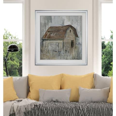 Barn At Dusk -Custom Framed Print - blue, white, grey, yellow, green, silver, gold