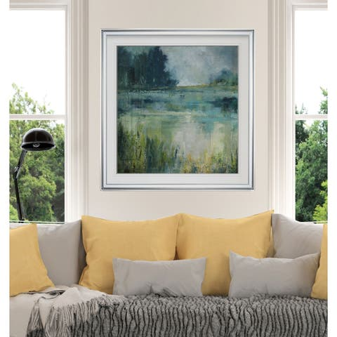 Reflections Edge -Custom Framed Print - blue, white, grey, yellow, green, silver, gold