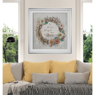 Done In Love -Custom Framed Print - blue, white, grey, yellow, green, silver, gold