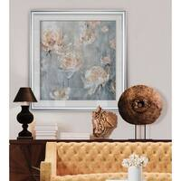 Rose Mist -Custom Framed Print - blue, white, grey, yellow, green, silver, gold