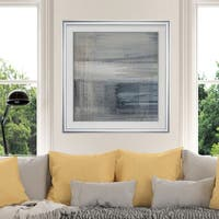 Weathered III -Custom Framed Print - blue, white, grey, yellow, green, silver, gold