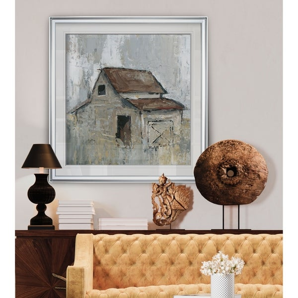 Barn at Midday -Custom Framed Print - blue, white, grey, yellow, green, silver, gold. Opens flyout.