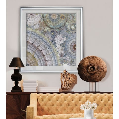 Clockworks II -Custom Framed Print - blue, white, grey, yellow, green, silver, gold