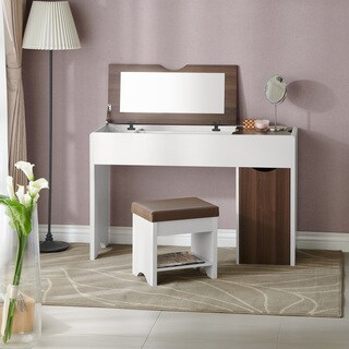Furniture of America Solara Contemporary 2-piece Vanity Table & Stool Set
