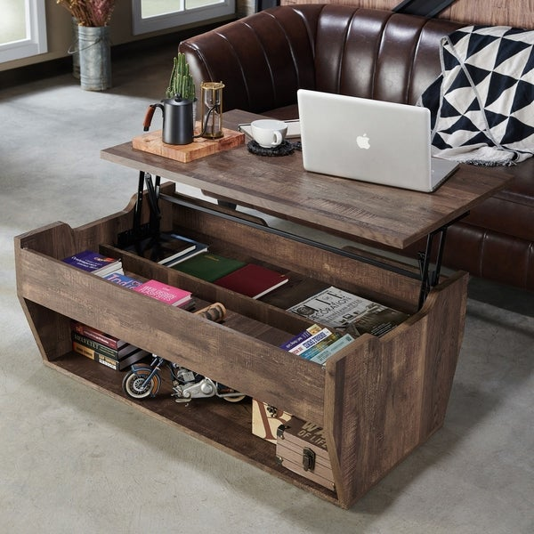 Furniture Of America Jameson Rustic Reclaimed Oak Lift Top Coffee Table