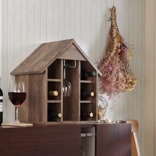 Furniture of America Bude Rustic Oak Tabletop Wine Rack