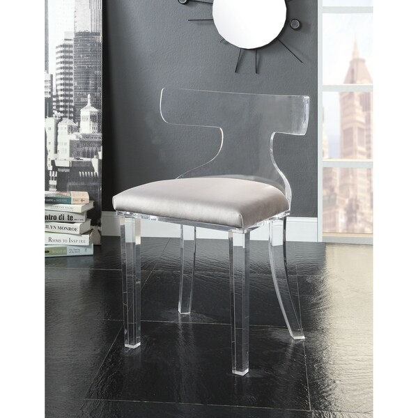 Shop Acme Bradley Accent Chair In Gray Velvet And Clear