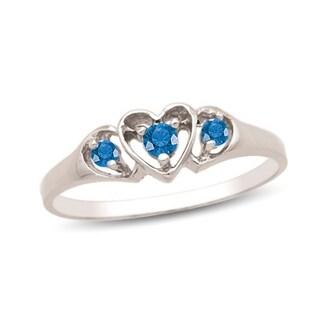 10K White Gold Genuine Birthstone Ring