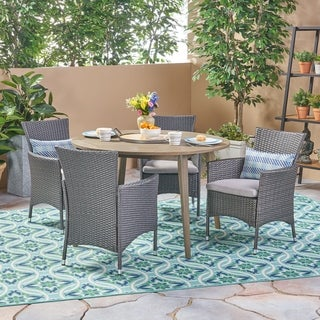 Biella Outdoor 5 Piece Wood and Wicker Dining Set by Christopher Knight Home