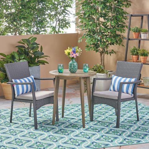 Arezzo Outdoor 3 Piece Wood and Wicker Bistro Set by Christopher Knight Home